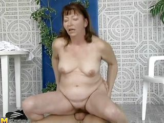 This mature woman was looking for a swim, but a better exercise to loosen you up is riding a cock, which is exactly what she's doing. This babe slides down every inch of her man's dick, loving the feeling of being fucked. This babe gets off to ride him normally, and he thrusts up hard and fast in her hairy cunt.