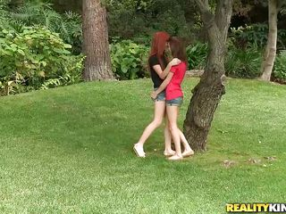 two chicks get it on at outdoor