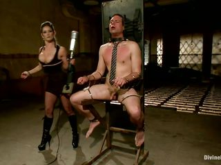 After a hard day of work every man needs to relax a bit. Some enjoy watching tv but the lucky ones are receiving a satisfying torture from their mistresses. This one didn't even took off his tie and already the mean busty slut pumps his dick and then hangs him upside down for some spanking. Favourable motherfucker!