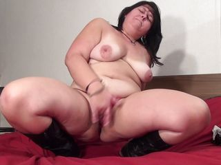 fatty older showing her hunger for sex.
