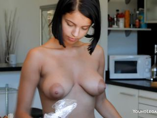 short haired brunette sweetheart carrying-on with the brush body