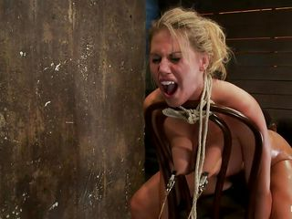 golden-haired gives head while having a metal hook in her wazoo