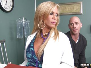 golden-haired older doctor gives a titjob