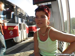 Pretty redhead Rachel was expecting for the train when I approached her. The 1st time i so this gal my cock went rock solid. Her face was so fucking pretty that I barely wait to see my ramrod on it. We've talked and talked and in the end she accepted my cash, not for only showing her whoppers but to give me head too