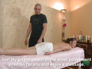 brunette slut having pretentiously blowjob and getting drilled at massage.