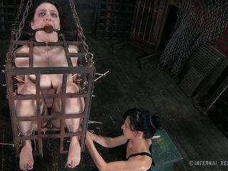 That's what that babe deserves for being a fucking whore. Brunette hair milf Dixon is now in a small bondage cage and her mistress shows her no compassion as that babe uses her devilish skills to castigation her. Dixon is in pain but that babe will have to endure a lot more. Curious what? The see some more and delight yourself!