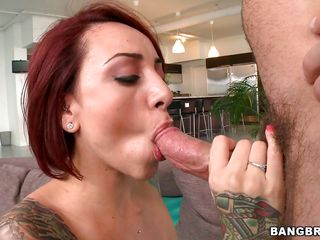 beautiful tattooed redhead with big boobs fucking wildly