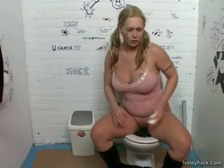 A be in charge blonde runs into the toilet. This coddle is desperate for a pee and hastily sits down. Just when this coddle is accessible a dick appears from a crevice in the wall. This coddle receives a loathing at 1st but then this coddle begins playing