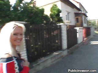 I was walking around the street while I met this beautiful blonde MILF from Czech Republic. She has a mind blowing smile but more importantly she has nice milk sacks that attracts me. Looks like she realized where I's looking and threw me a slutty smile. I went to her and talked about stuffs to seduce her. Let's see what happens!