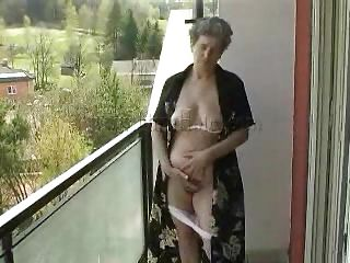 Granny Rose is in her balcony and the fresh air made her feel a bit better. Now that she feels good she wants to play with herself and starts touching that fat belly and her saggy cunt. Luckily Rose has a few carrots and we all know how important vegetables are for old people. This babe takes the carrots and fill her pussy