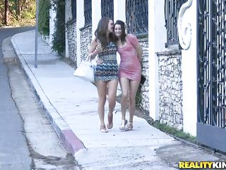 Malena and Georgia are two naughty girls who just seek for a quiet place to engulf on every others love juice! Watch how they rushed into the house and start kissing every other with passion. Soon, Georgia took out Malena's nice tits and went down. That babe in nature's garb her pussy and started engulfing & licking her twat!