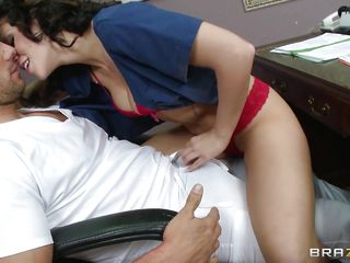 brunette doc gives head to guy in white t-shirt