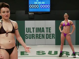 Two lesbians are wrestling for our pleasure. Those bitches know that they need to give a hawt show so we can be pleased and they give their best. The act takes place with a skandenberg and the everything goes down and dirty. In a chaotic wrestle the sluts play as dirty as they can and one remains out of her pants