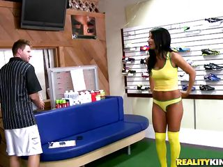 Her athletics days are over, but Sophia's love for soccer isn't gone. The salesman cannot help but admire the toned MILF and offered her to try their newest soccer garments. Damn, she looked so nice in her tight thing and long socks, especially when she bends it like Beckham! Soccer moms are hot!