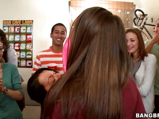 Nice milfs Jada Stevens, Lexi Belle and Bethany Benz and a bunch of other girls are having joy passing a huge pink dildo from throat to mouth. After having some booze they get bare and slam their fascinating butts against colored balloons. Then the sex goddesses enjoy giving blowjobs to priceless studs with hard cocks.