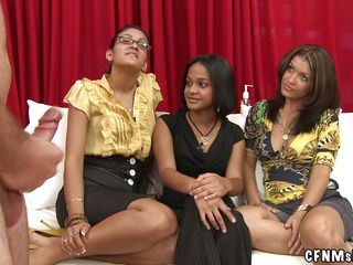 three whores on the couch love to watch naked fellows