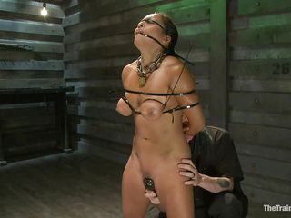 She is in for some really grueling training regime as he takes complete control of her body and makes her body go throughout different hardships to make sure this babe obeys abjectly without asking any questions or raising objection. He fastened her and covered her face with cloth to tell her who is the boss.