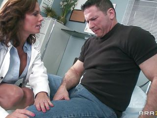 Veronica knows how to take care of her patients. That babe examines this fellow and then comes to a conclusion that the perfect treatment for him would be a mean blowjob. The hawt milf doc opens her mouth with pleasure and slides her lips and tongue in that big hard penis. Will she get repaid with a big load of jizz on her face?