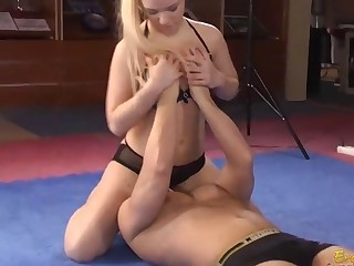 Femdom sits on a dude and gets her twat licked