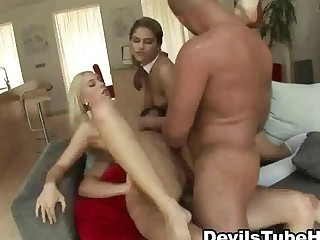 Two schoolgirl babes in a very hot threesome act