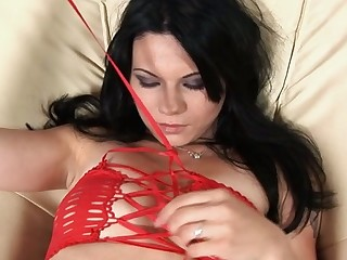Stuffing cunt beads and vibrator into twat drives sweetheart mad