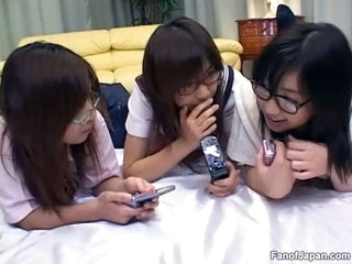 Three Asian girls are on the bed later on three guys enter the room and pretend to them. Their clothes are removed and their pussies rubbed which make 'em not with pleasure. Then all three of 'em are fucked hard.