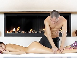 Dishonest masseur is rapidly undressing his cheerful with the addition of hot client