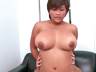 Plump Latina encircling heavy boobs up for anal sex
