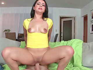 Captivating Latina rubs her cooch while riding a big goof
