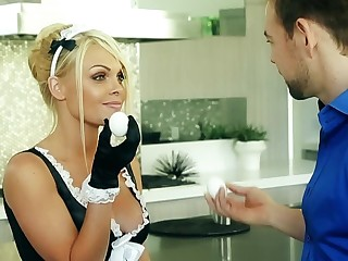A sexy maid with large tits gets her uniform off and has making love