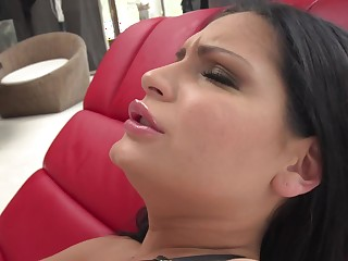 Raven-haired beautie gets screwed roughly sweet ass