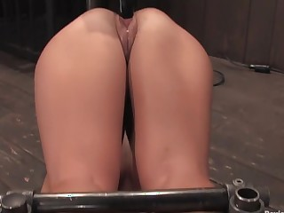 Angelica Saige20yr old co-ed trapped by scarcely any bar unshaped fucked by a machine!