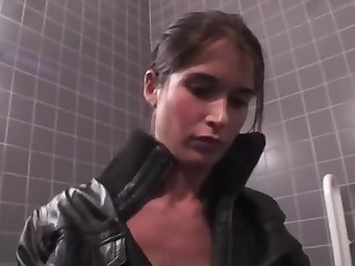 Teen babe Nessa Devil takes on high cock in WC