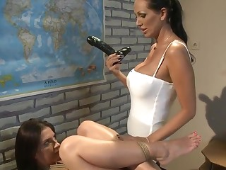 Mandy Brilliantly teaching Bambi history dimension fucking her with a dildo