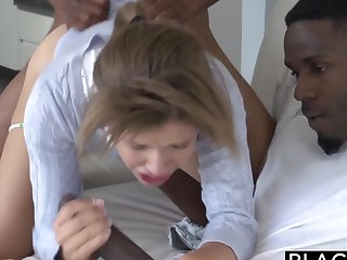 BLACKED Teen Natasha WhiteThreesome with Team a few Monster Dicks
