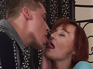 Redhead mature and little shaver
