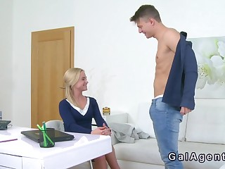 Slim blonde female agent bangs handsome lady's man