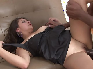 A black coxcomb pushes himself into a hot Latina slut take a big ass