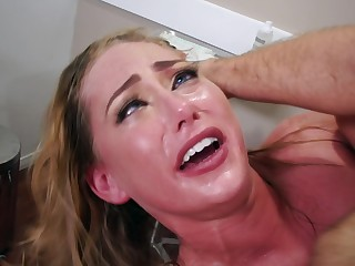 A blonde with natural tits is getting fucked in the brush wet pussy