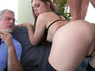 A brunette with small tits is object rammed by a younger dude