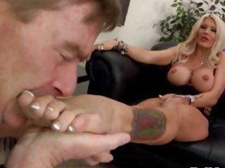 Femdom bitch Michelle McLaren gets feet licked