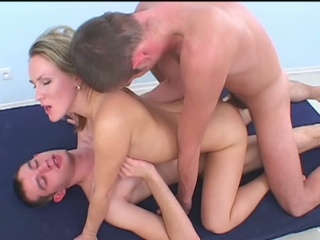 Dispirited russian golden-haired double penetrated by two horny studs