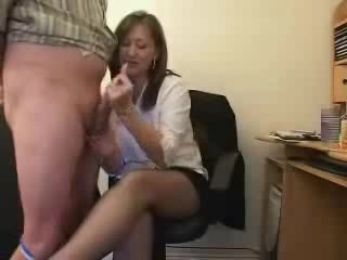 He lets the secretary spank his jizz-shotgun and balls