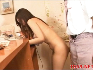 Japanese busty slut fingered & drilled