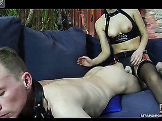 Tractable guy receives face drilled and booty plundered by his mistress