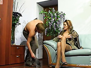 Indecorous mature gal seductive up her petticoat for dissipated muff-diving together with hard fucking