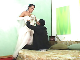 Horny guy falling a victim of his tranny bride