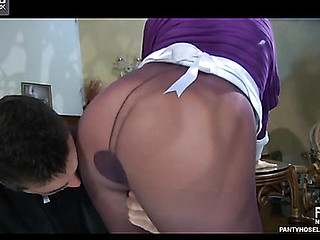 Upskirt maid receives her purplish pantyhose ripped to snippets for a belly ride