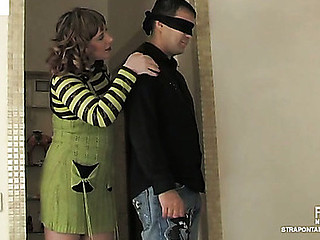 Blindfold undressed lad spiralling in for anal division by a strap-on armed chick