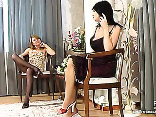 Mischievous babes in sheer-to-waist hose in frantic vibrator-action
